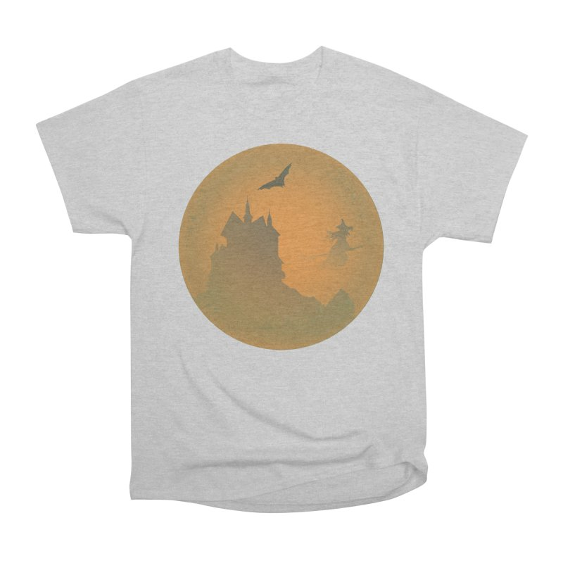Dark Castle with flying witch, bat, in front of orange moon. Men's Heavyweight T-Shirt by Sporkshirts's tshirt gamer movie and design shop.