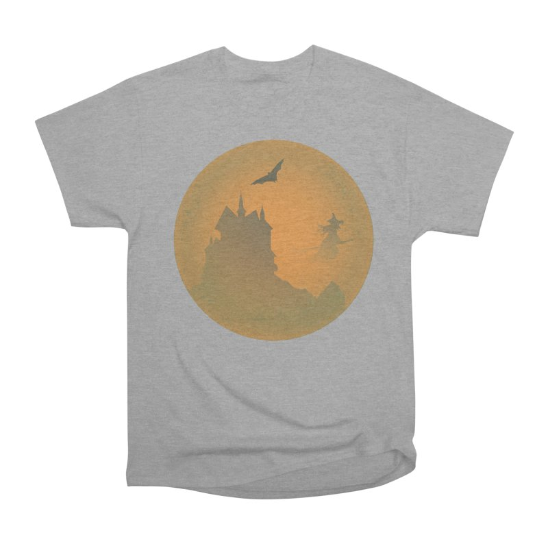 Dark Castle with flying witch, bat, in front of orange moon. Women's Heavyweight Unisex T-Shirt by Make a statement, laugh, enjoy.