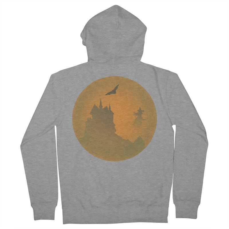 Dark Castle with flying witch, bat, in front of orange moon. Women's French Terry Zip-Up Hoody by Make a statement, laugh, enjoy.