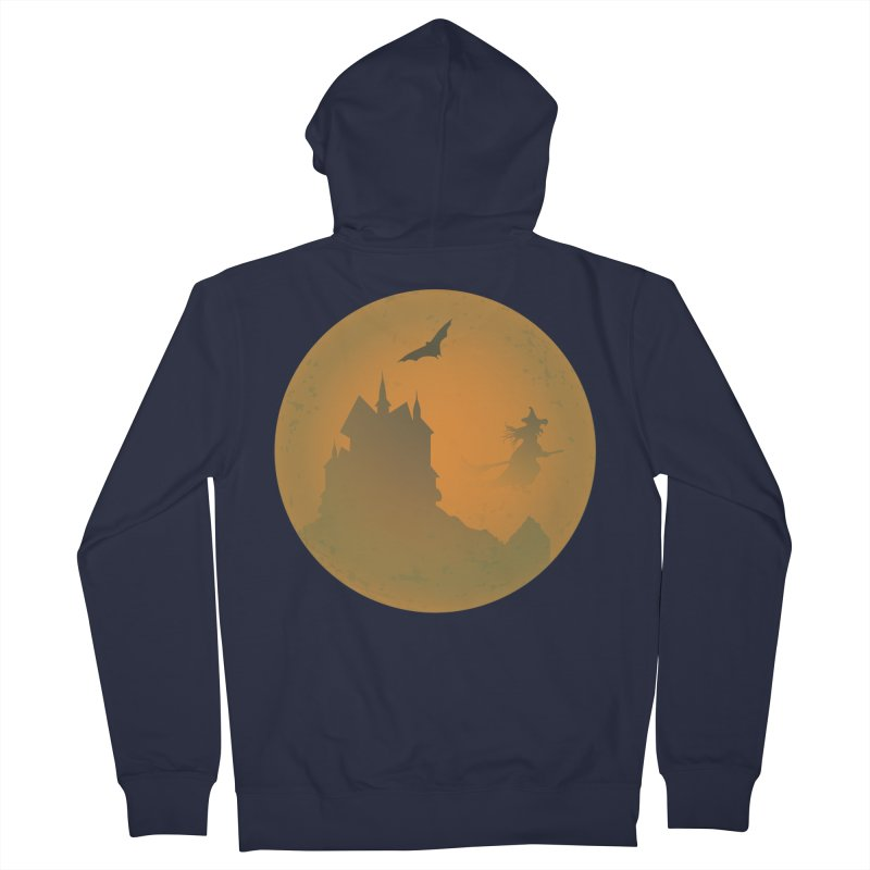 Dark Castle with flying witch, bat, in front of orange moon. Men's French Terry Zip-Up Hoody by Make a statement, laugh, enjoy.