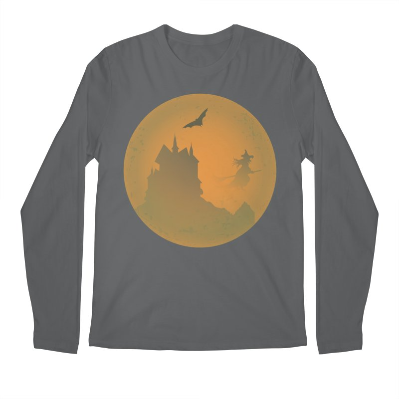 Dark Castle with flying witch, bat, in front of orange moon. Men's Longsleeve T-Shirt by Make a statement, laugh, enjoy.