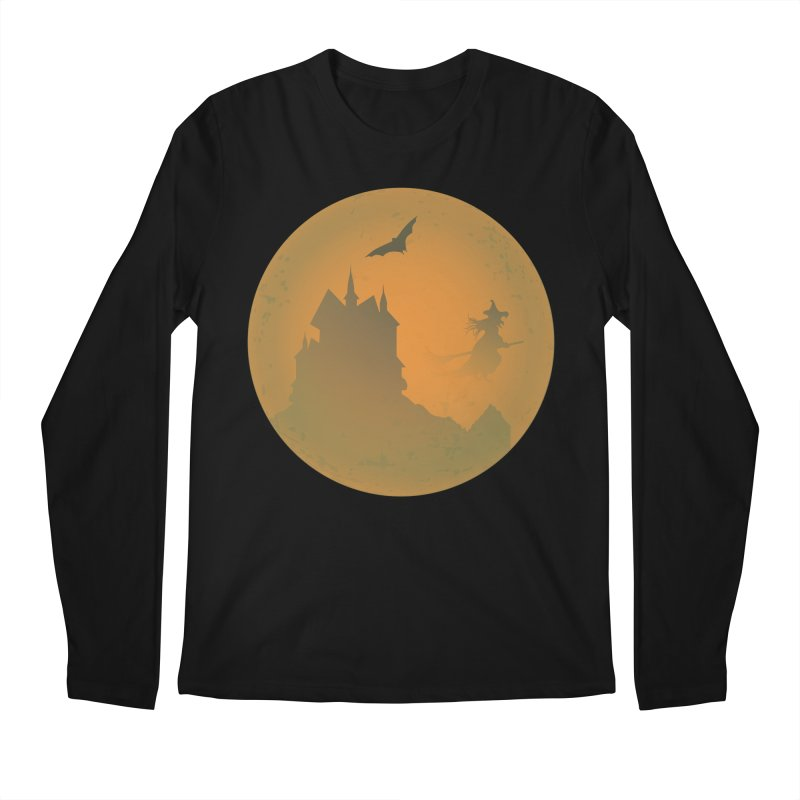 Dark Castle with flying witch, bat, in front of orange moon. Men's Regular Longsleeve T-Shirt by Make a statement, laugh, enjoy.