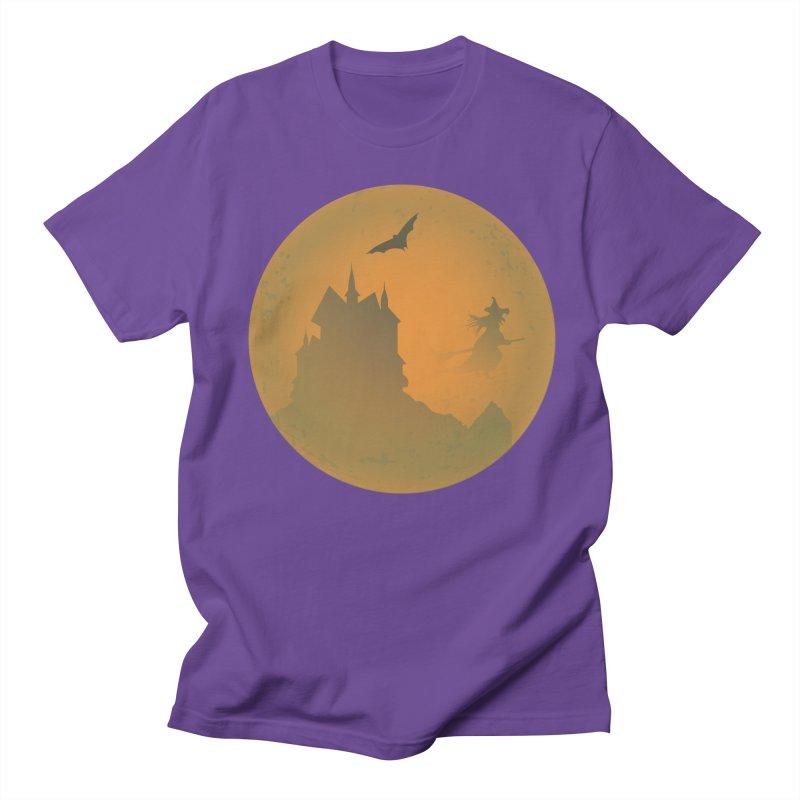Dark Castle with flying witch, bat, in front of orange moon. Men's Regular T-Shirt by Sporkshirts's tshirt gamer movie and design shop.