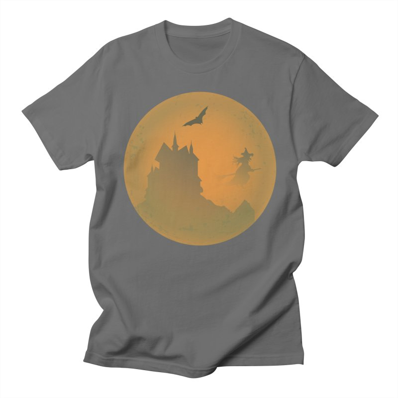Dark Castle with flying witch, bat, in front of orange moon. Men's T-Shirt by Make a statement, laugh, enjoy.