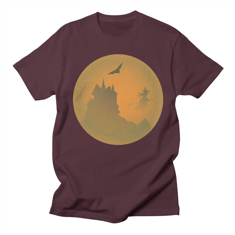 Dark Castle with flying witch, bat, in front of orange moon. Men's Regular T-Shirt by Make a statement, laugh, enjoy.