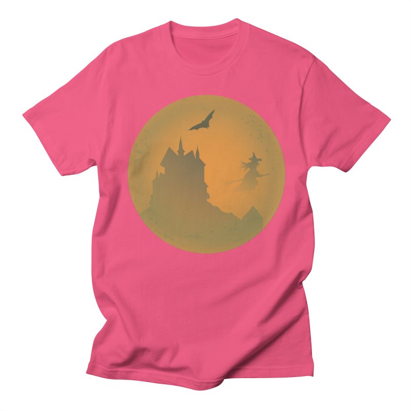 Dark Castle with flying witch, bat, in front of orange moon. Women's Regular Unisex T-Shirt by Make a statement, laugh, enjoy.