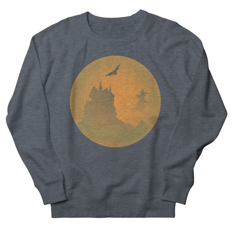 Dark Castle with flying witch, bat, in front of orange moon. Women's French Terry Sweatshirt by Sporkshirts's tshirt gamer movie and design shop.