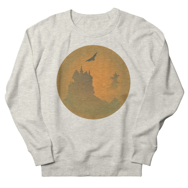 Dark Castle with flying witch, bat, in front of orange moon. Women's French Terry Sweatshirt by Make a statement, laugh, enjoy.