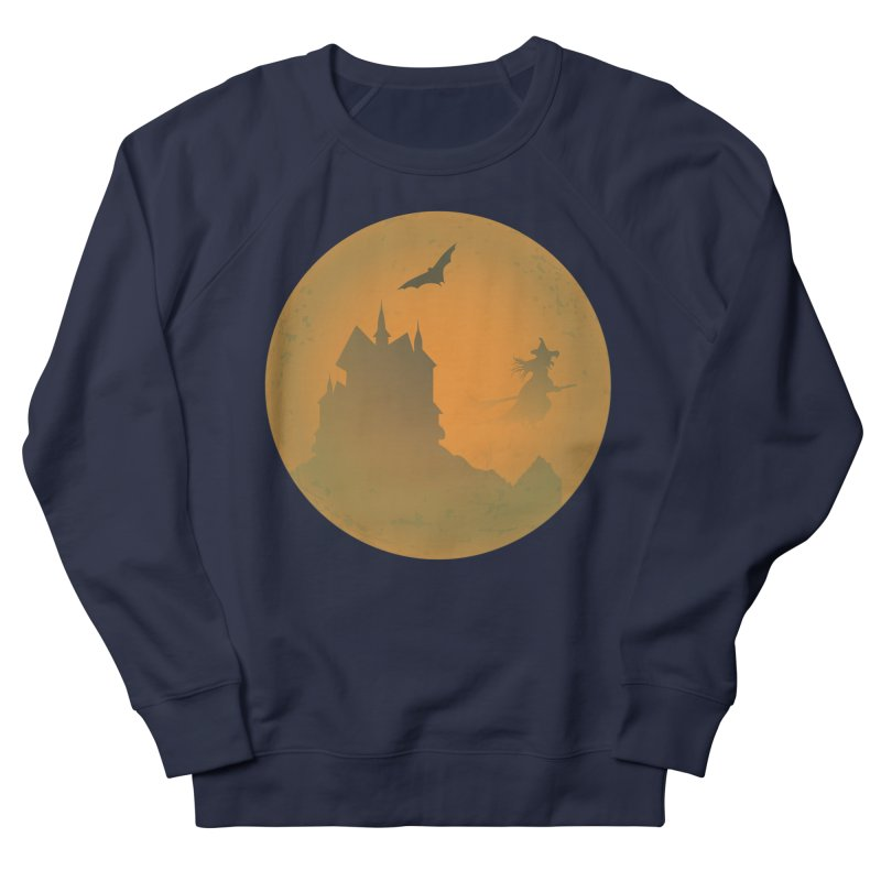 Dark Castle with flying witch, bat, in front of orange moon. Men's French Terry Sweatshirt by Sporkshirts's tshirt gamer movie and design shop.