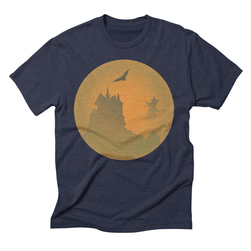 Dark Castle with flying witch, bat, in front of orange moon. Men's Triblend T-Shirt by Sporkshirts's tshirt gamer movie and design shop.