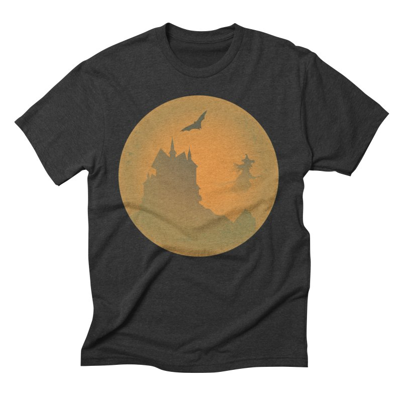 Dark Castle with flying witch, bat, in front of orange moon. Men's Triblend T-Shirt by Make a statement, laugh, enjoy.