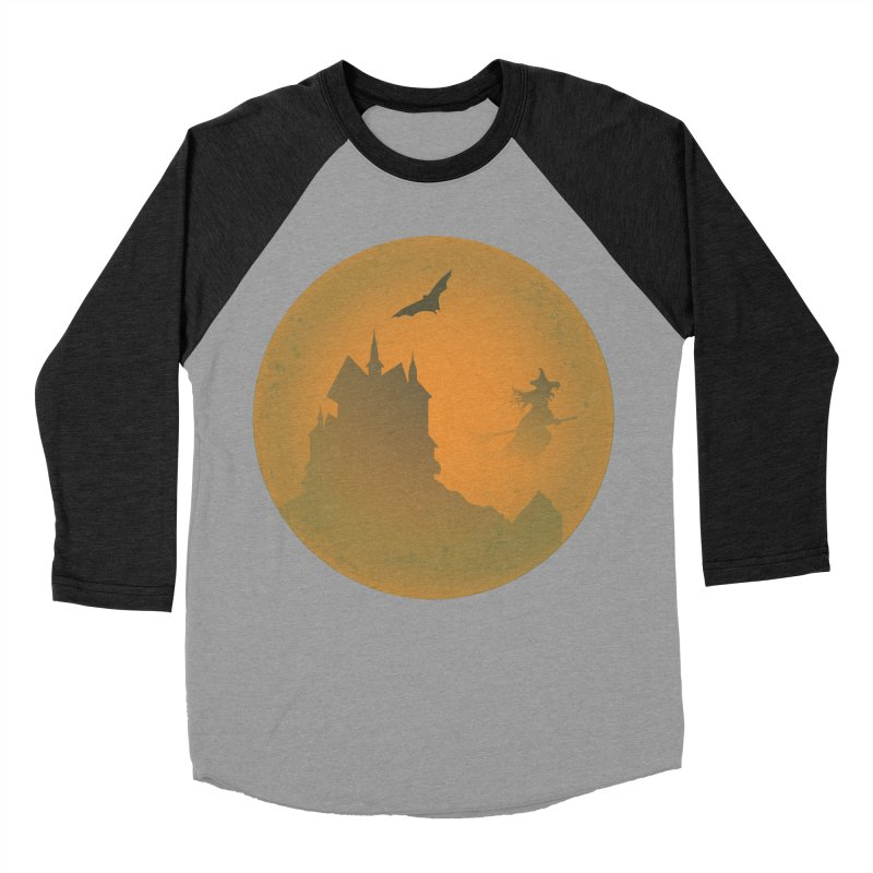 Dark Castle with flying witch, bat, in front of orange moon. Women's Baseball Triblend Longsleeve T-Shirt by Make a statement, laugh, enjoy.