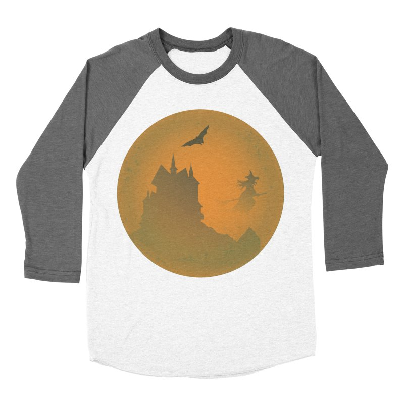 Dark Castle with flying witch, bat, in front of orange moon. Men's Baseball Triblend Longsleeve T-Shirt by Sporkshirts's tshirt gamer movie and design shop.