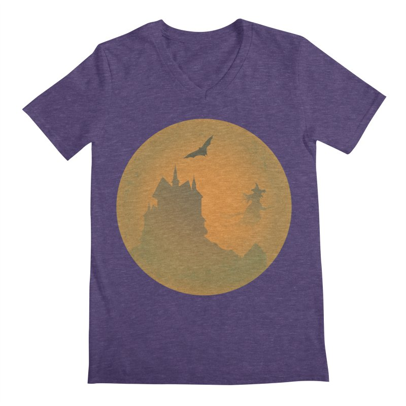 Dark Castle with flying witch, bat, in front of orange moon. Men's Regular V-Neck by Sporkshirts's tshirt gamer movie and design shop.