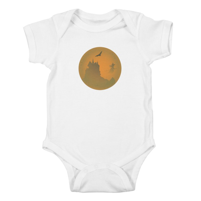 Dark Castle with flying witch, bat, in front of orange moon. Kids Baby Bodysuit by Make a statement, laugh, enjoy.