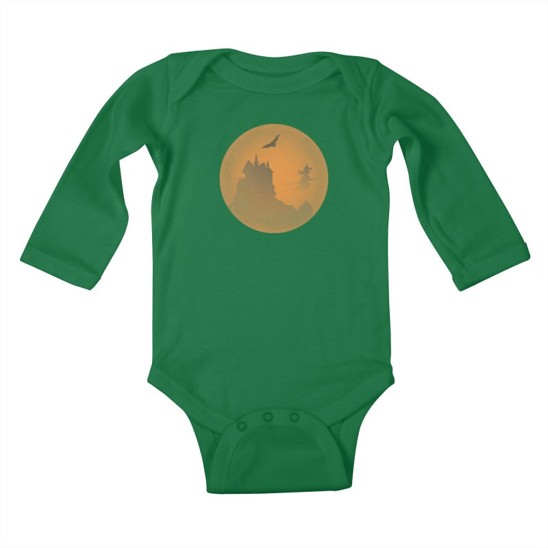 Dark Castle with flying witch, bat, in front of orange moon. Kids Baby Longsleeve Bodysuit by Sporkshirts's tshirt gamer movie and design shop.