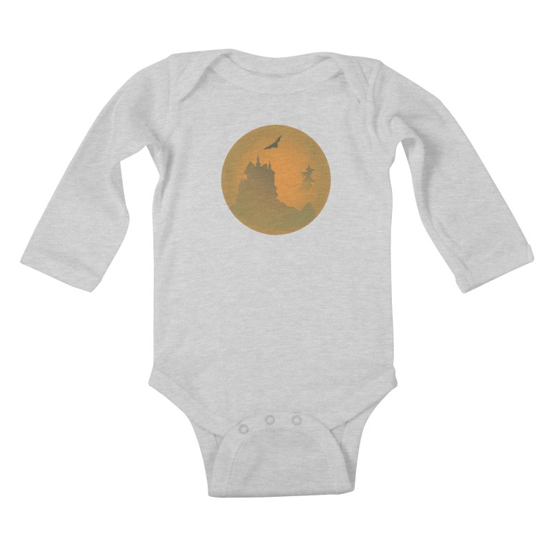 Dark Castle with flying witch, bat, in front of orange moon. Kids Baby Longsleeve Bodysuit by Make a statement, laugh, enjoy.
