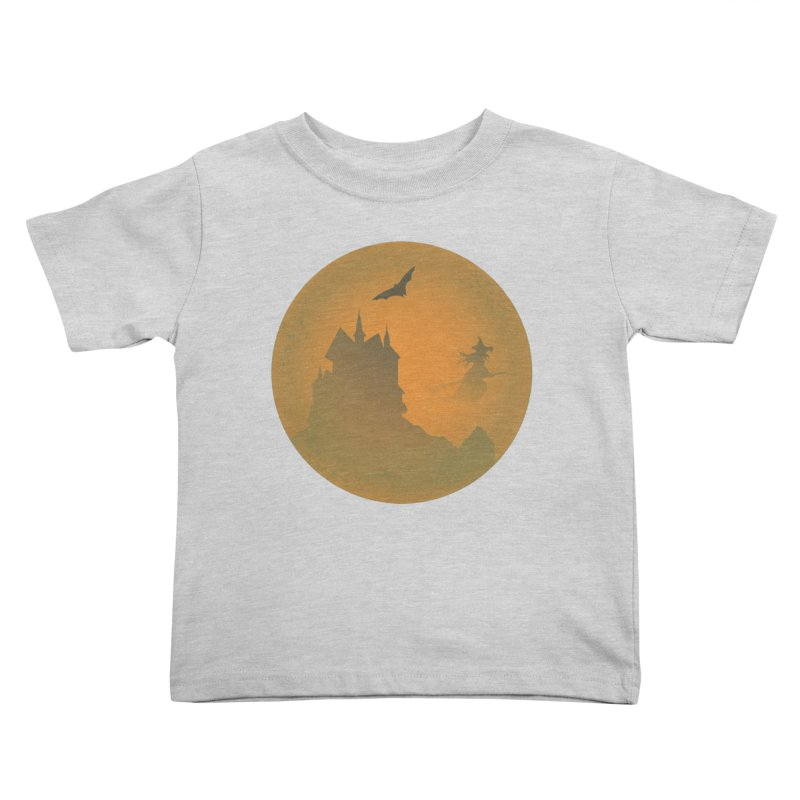 Dark Castle with flying witch, bat, in front of orange moon. Kids Toddler T-Shirt by Sporkshirts's tshirt gamer movie and design shop.