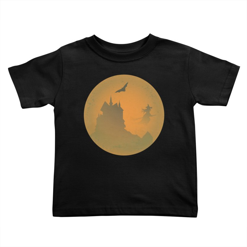 Dark Castle with flying witch, bat, in front of orange moon. Kids Toddler T-Shirt by Make a statement, laugh, enjoy.