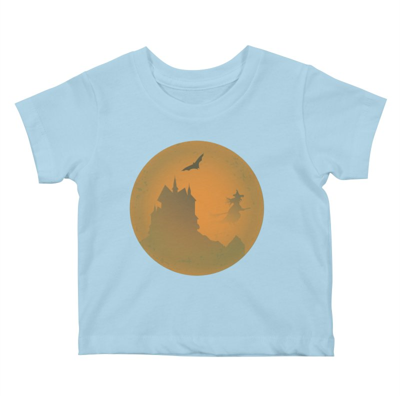Dark Castle with flying witch, bat, in front of orange moon. Kids Baby T-Shirt by Sporkshirts's tshirt gamer movie and design shop.
