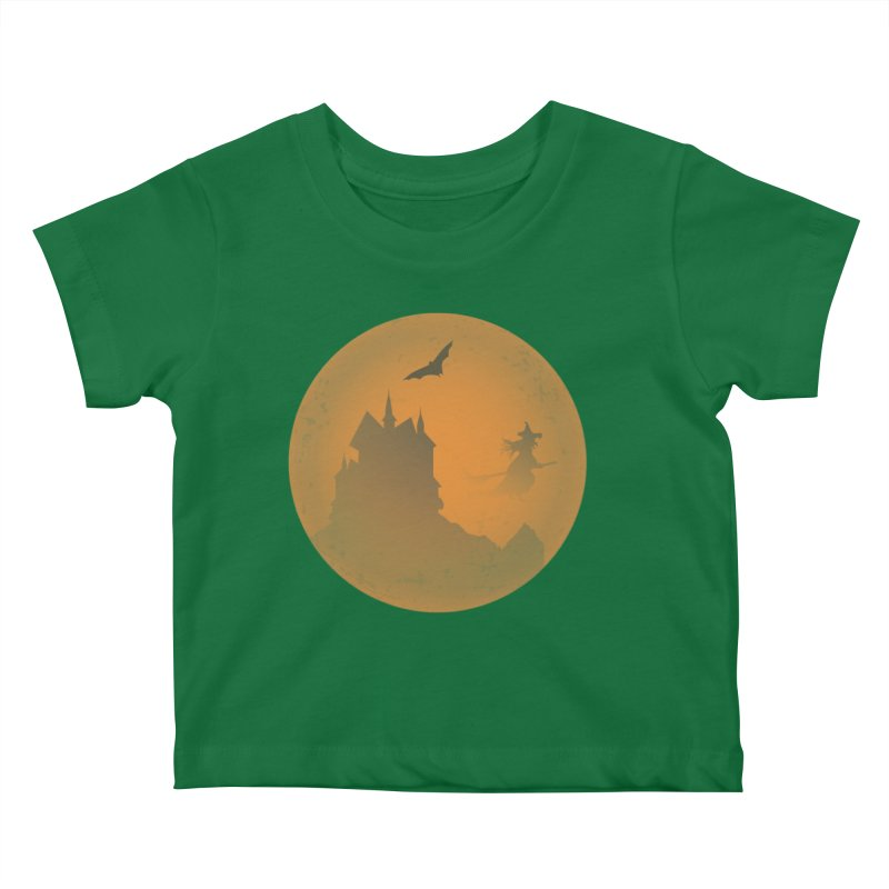 Dark Castle with flying witch, bat, in front of orange moon. Kids Baby T-Shirt by Make a statement, laugh, enjoy.
