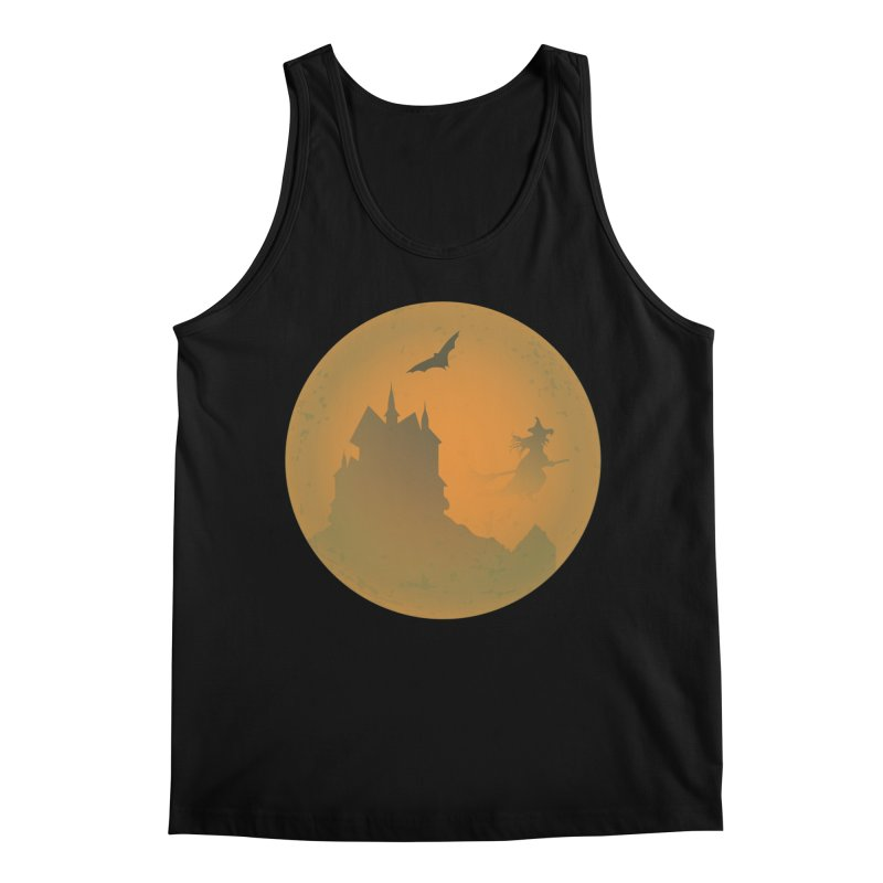 Dark Castle with flying witch, bat, in front of orange moon. Men's Regular Tank by Make a statement, laugh, enjoy.