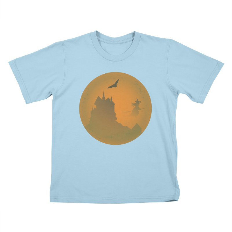 Dark Castle with flying witch, bat, in front of orange moon. Kids T-Shirt by Make a statement, laugh, enjoy.