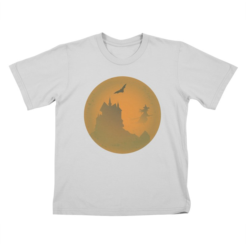 Dark Castle with flying witch, bat, in front of orange moon. Kids T-Shirt by Sporkshirts's tshirt gamer movie and design shop.