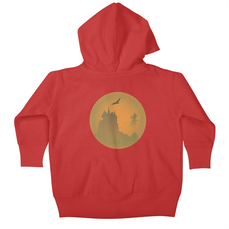 Dark Castle with flying witch, bat, in front of orange moon. Kids Baby Zip-Up Hoody by Make a statement, laugh, enjoy.