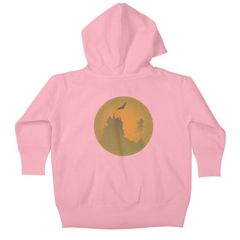 Dark Castle with flying witch, bat, in front of orange moon. Kids Baby Zip-Up Hoody by Sporkshirts's tshirt gamer movie and design shop.