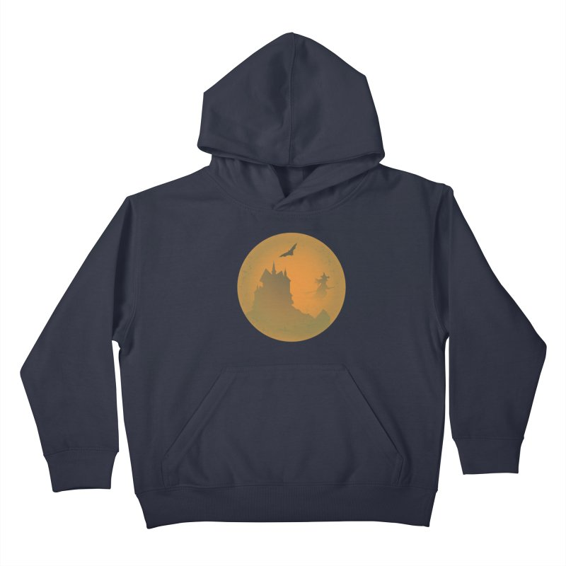 Dark Castle with flying witch, bat, in front of orange moon. Kids Pullover Hoody by Make a statement, laugh, enjoy.