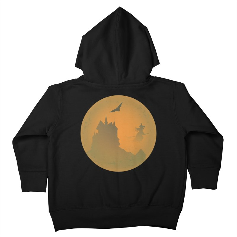 Dark Castle with flying witch, bat, in front of orange moon. Kids Toddler Zip-Up Hoody by Make a statement, laugh, enjoy.