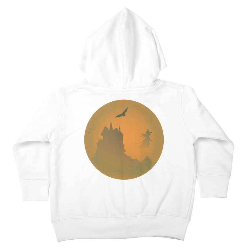 Dark Castle with flying witch, bat, in front of orange moon. Kids Toddler Zip-Up Hoody by Sporkshirts's tshirt gamer movie and design shop.