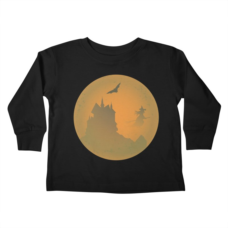 Dark Castle with flying witch, bat, in front of orange moon. Kids Toddler Longsleeve T-Shirt by Sporkshirts's tshirt gamer movie and design shop.