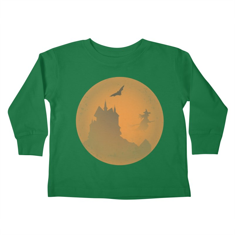 Dark Castle with flying witch, bat, in front of orange moon. Kids Toddler Longsleeve T-Shirt by Make a statement, laugh, enjoy.