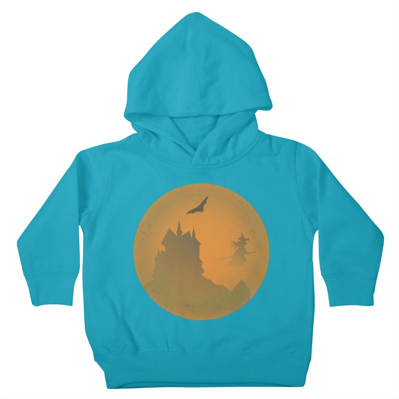Dark Castle with flying witch, bat, in front of orange moon. Kids Toddler Pullover Hoody by Make a statement, laugh, enjoy.