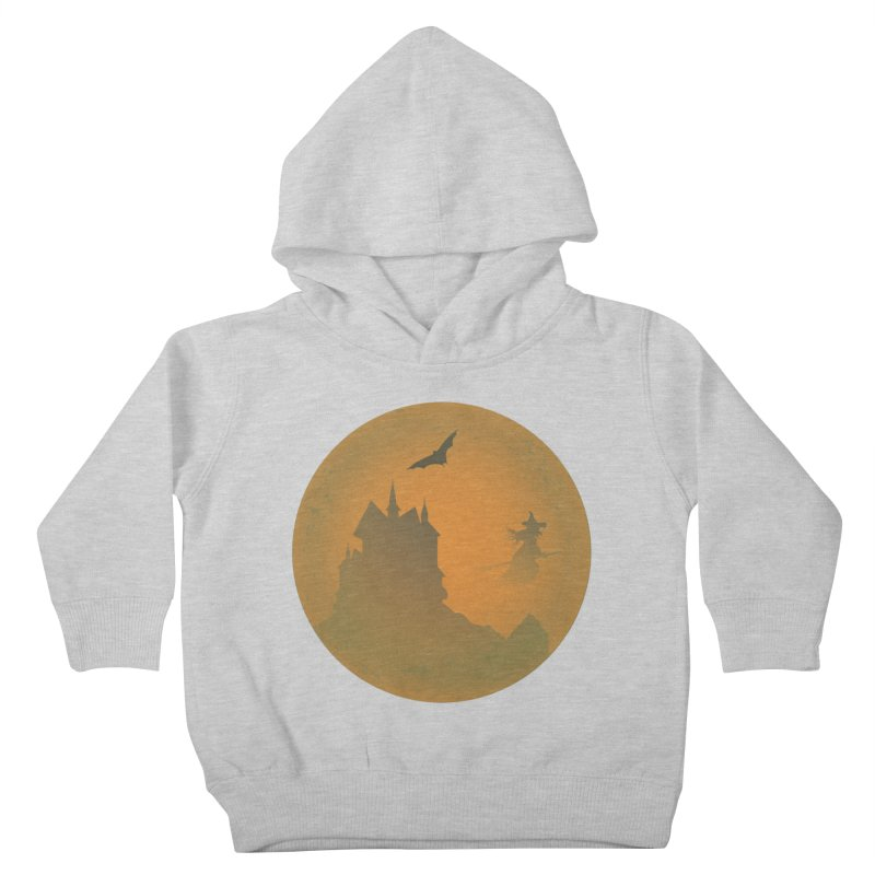 Dark Castle with flying witch, bat, in front of orange moon. Kids Toddler Pullover Hoody by Sporkshirts's tshirt gamer movie and design shop.