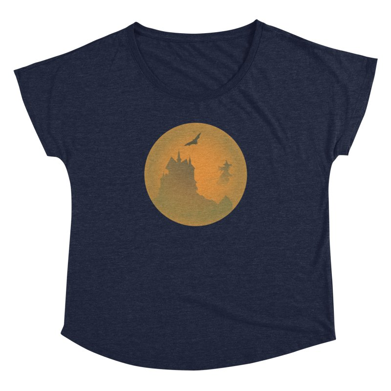 Dark Castle with flying witch, bat, in front of orange moon. Women's Dolman Scoop Neck by Sporkshirts's tshirt gamer movie and design shop.