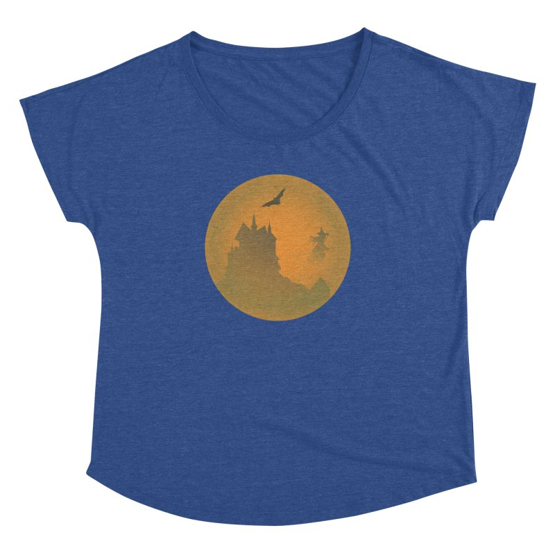 Dark Castle with flying witch, bat, in front of orange moon. Women's Dolman Scoop Neck by Make a statement, laugh, enjoy.