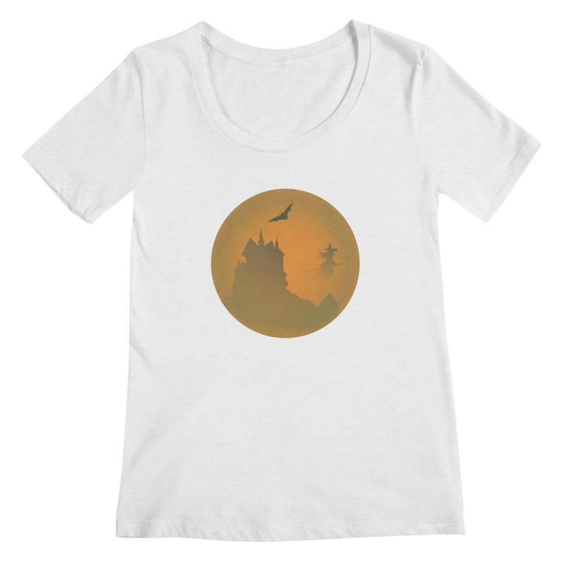Dark Castle with flying witch, bat, in front of orange moon. Women's Regular Scoop Neck by Make a statement, laugh, enjoy.