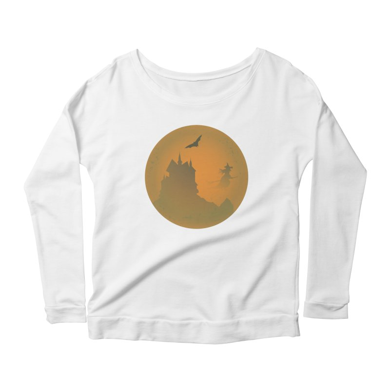 Dark Castle with flying witch, bat, in front of orange moon. Women's Scoop Neck Longsleeve T-Shirt by Make a statement, laugh, enjoy.
