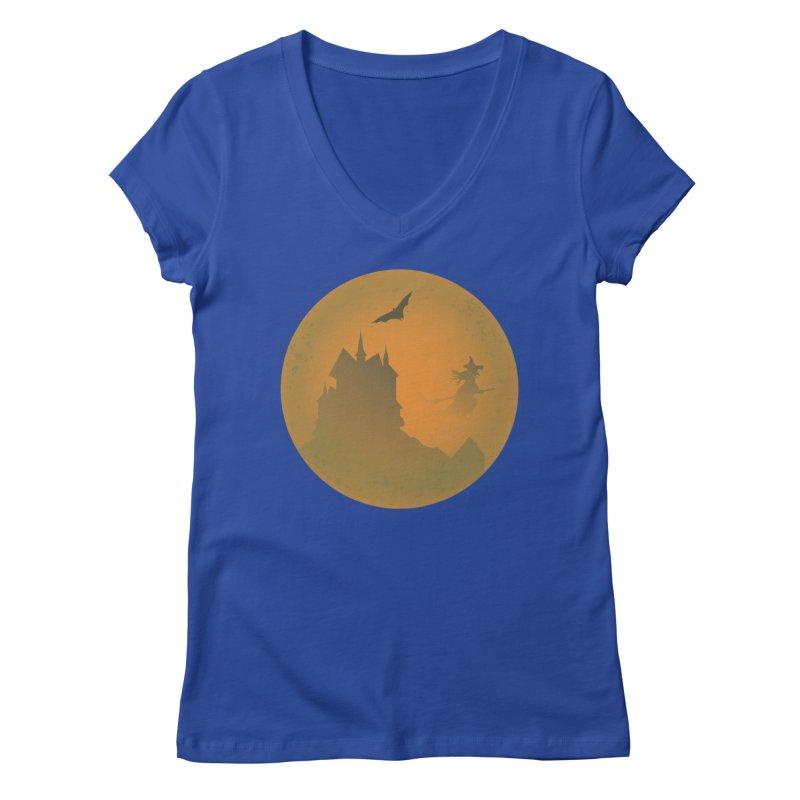 Dark Castle with flying witch, bat, in front of orange moon. Women's Regular V-Neck by Make a statement, laugh, enjoy.