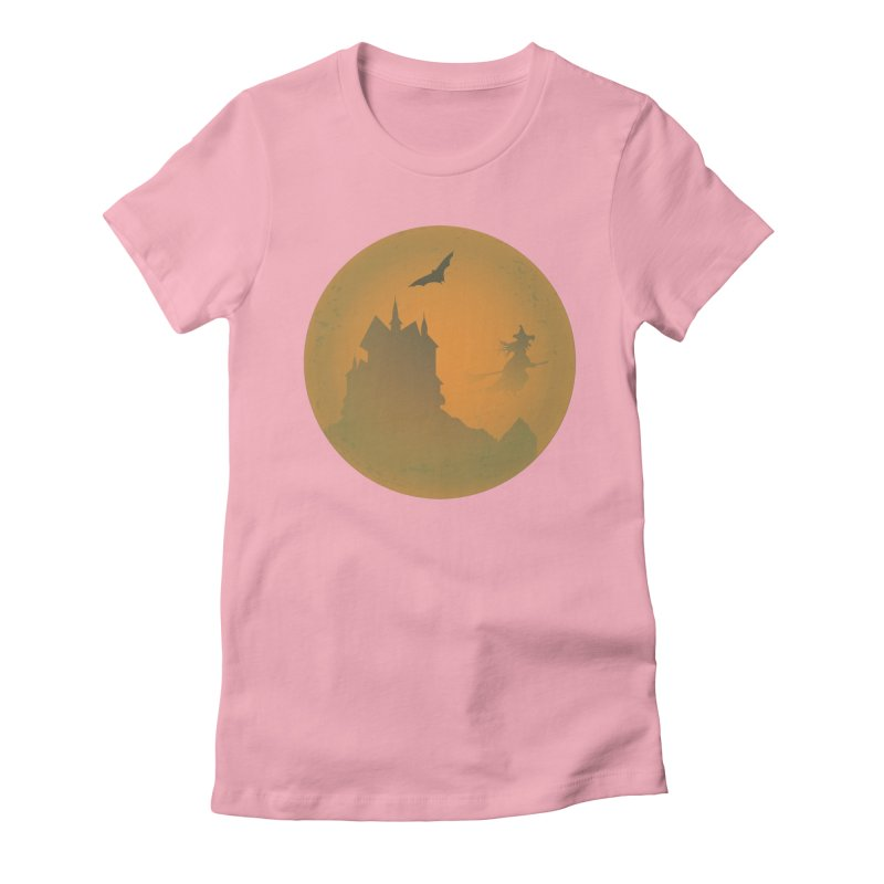 Dark Castle with flying witch, bat, in front of orange moon. Women's Fitted T-Shirt by Sporkshirts's tshirt gamer movie and design shop.