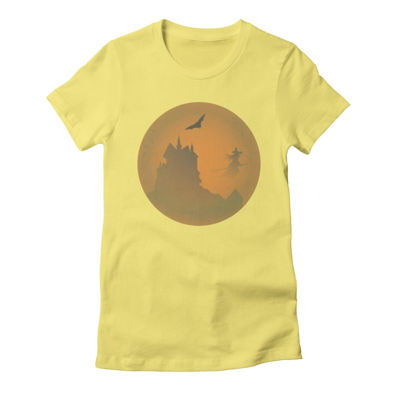 Dark Castle with flying witch, bat, in front of orange moon. Women's Fitted T-Shirt by Make a statement, laugh, enjoy.