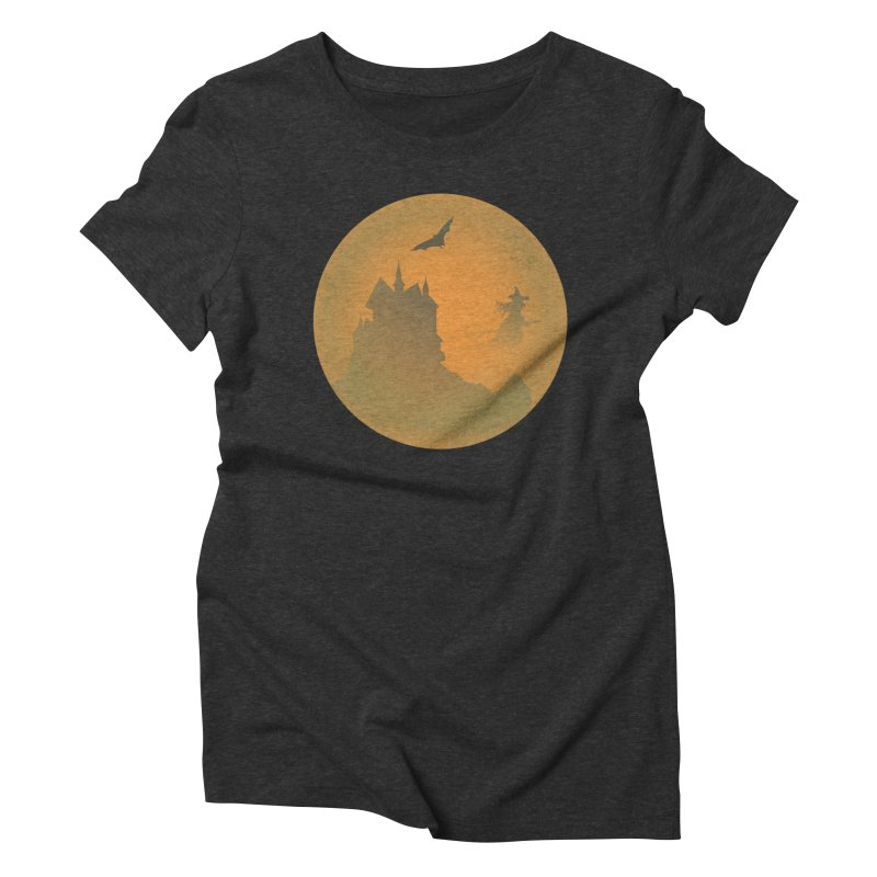 Dark Castle with flying witch, bat, in front of orange moon. Women's Triblend T-Shirt by Sporkshirts's tshirt gamer movie and design shop.