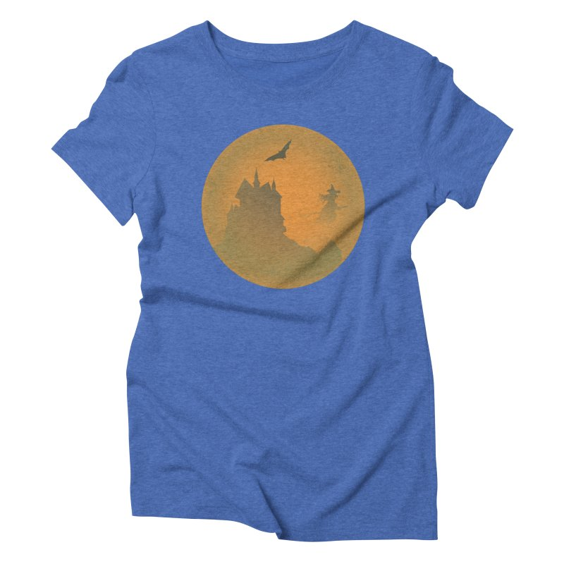 Dark Castle with flying witch, bat, in front of orange moon. Women's Triblend T-Shirt by Make a statement, laugh, enjoy.
