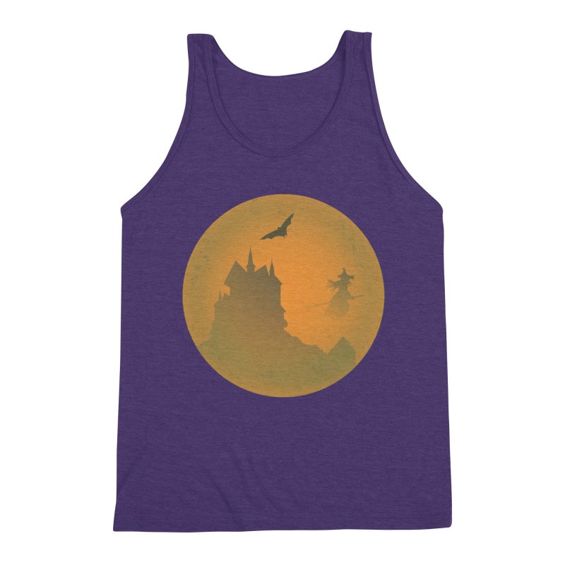 Dark Castle with flying witch, bat, in front of orange moon. Men's Triblend Tank by Make a statement, laugh, enjoy.