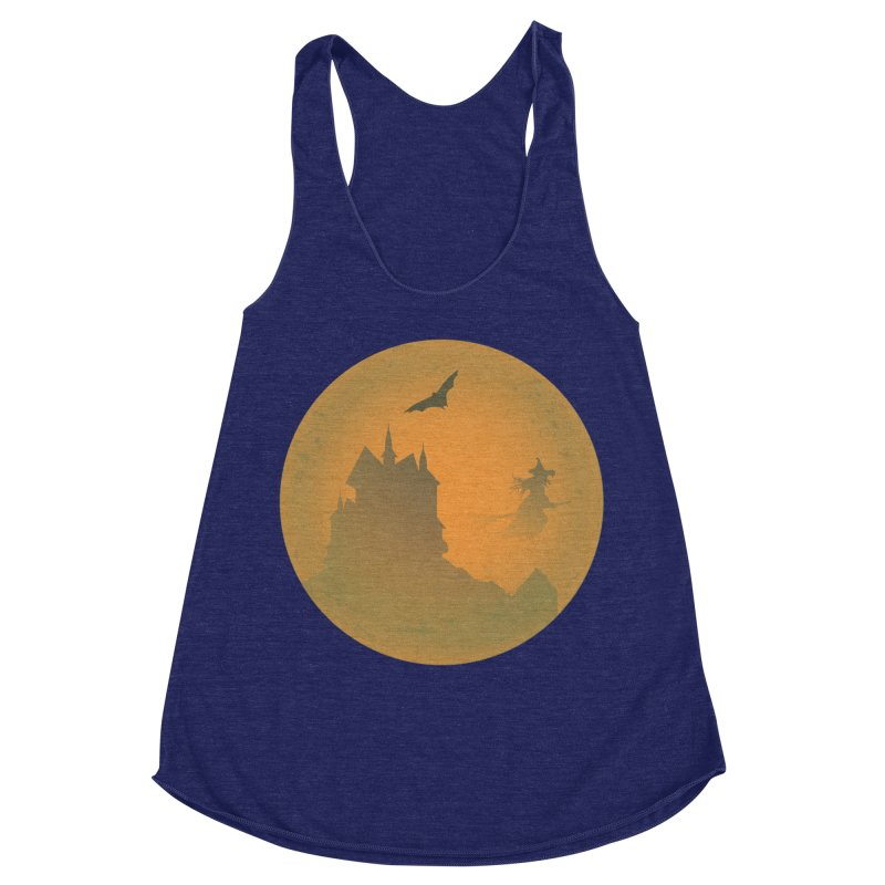 Dark Castle with flying witch, bat, in front of orange moon. Women's Racerback Triblend Tank by Make a statement, laugh, enjoy.