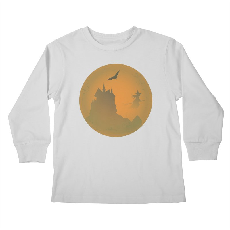 Dark Castle with flying witch, bat, in front of orange moon. Kids Longsleeve T-Shirt by Make a statement, laugh, enjoy.