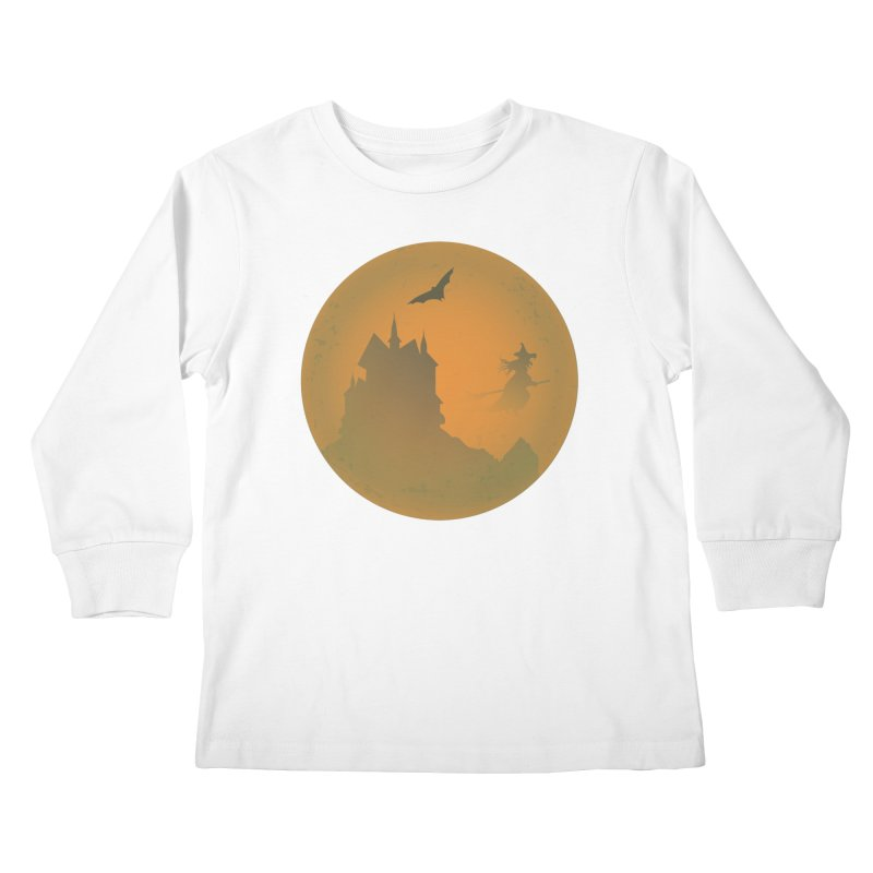 Dark Castle with flying witch, bat, in front of orange moon. Kids Longsleeve T-Shirt by Sporkshirts's tshirt gamer movie and design shop.